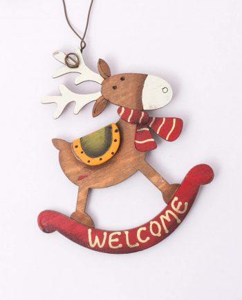 decoratiune-lemn-calut-maro-welcome